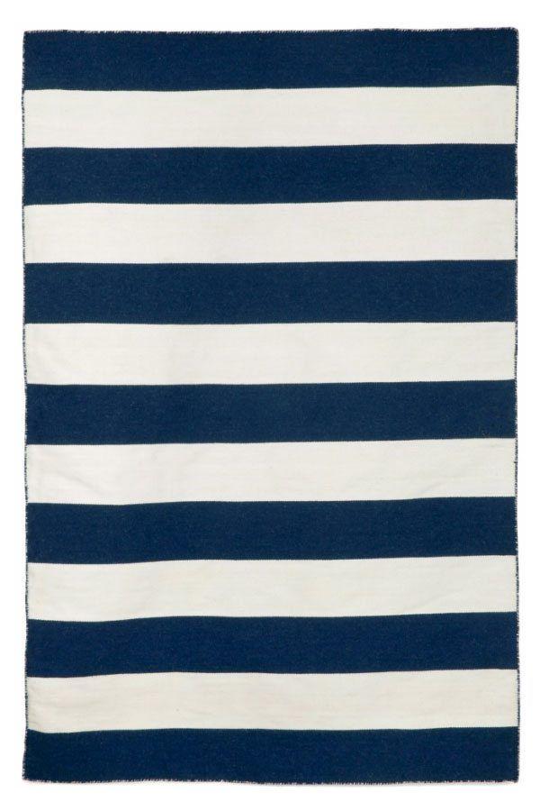 Navy Beach Stripe Indoor Outdoor Rug Striped Rug Blue White