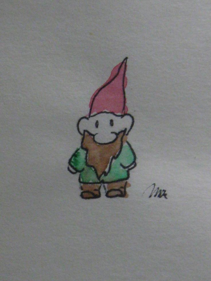 MK- Origional.  Gnome.    Watercolor, sharpie