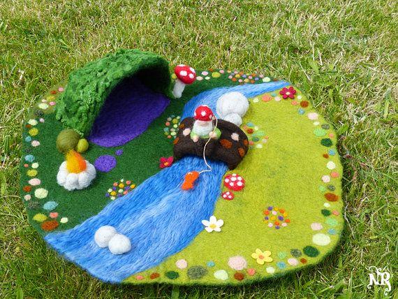 On order Playmat felted wool waldorf gnome pixie von tetedelinoth