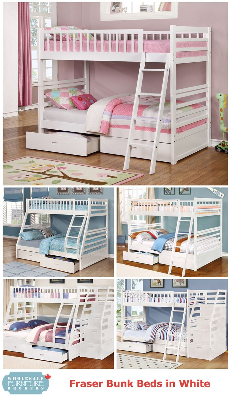 Fraser III White Bunk Beds With Solid Wood Construction And Two Storage Drawers By True Contemporary At Wholesale Furniture Brokers