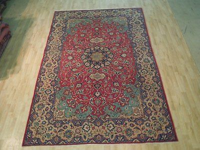 Red Persian Area Rug 7 X 10 Vintage Semi Antique Isfahan Genuine Handmade