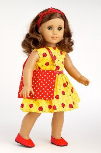 DreamWorld Collections Let's Go Shopping - Yellow Ladybug Dress with Shopping Bag, Red Shoes and Matching Headband - 18 Inch American Girl Doll Clothes : Contemporary Doll Outfits