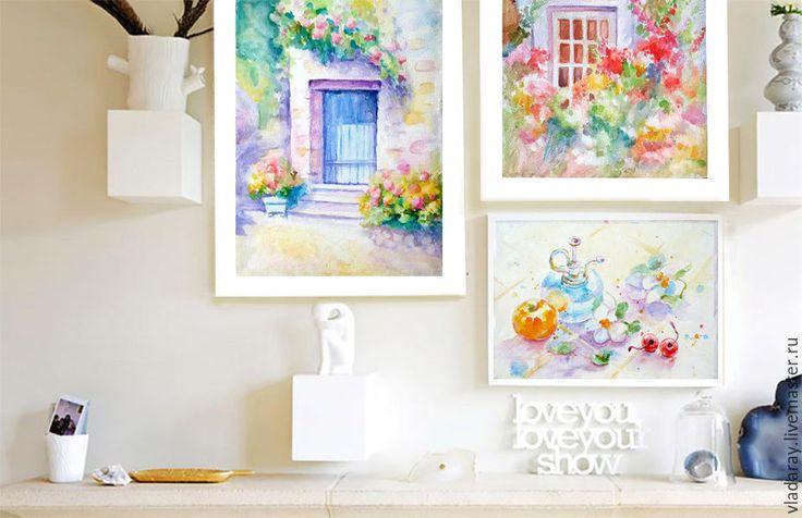 """Купить картина """"Уютный дворик"""" акварель - акварельная картина, картина в…"""