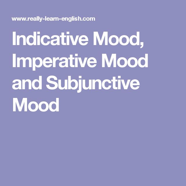 Indicative Mood, Imperative Mood and Subjunctive Mood
