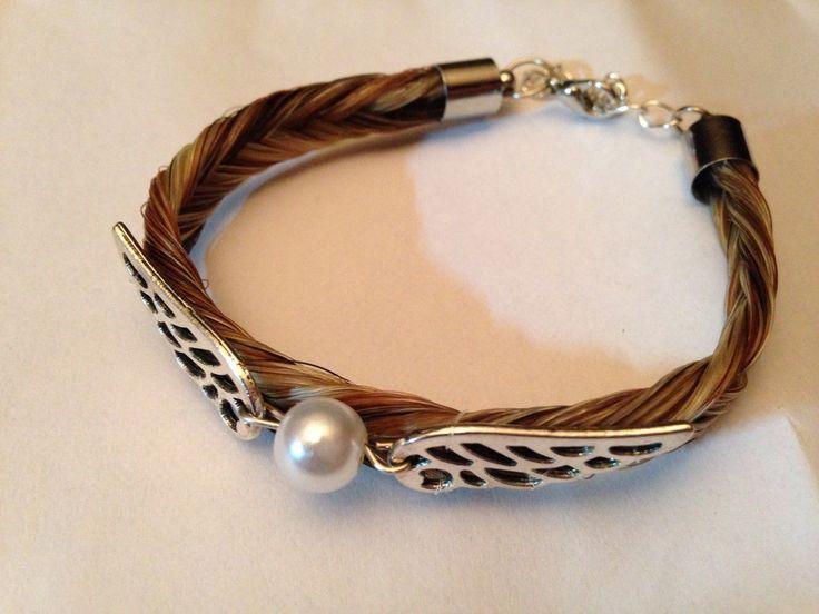 bracelet en crins de cheval avec ailes   perles : Bracelet par creations-crins