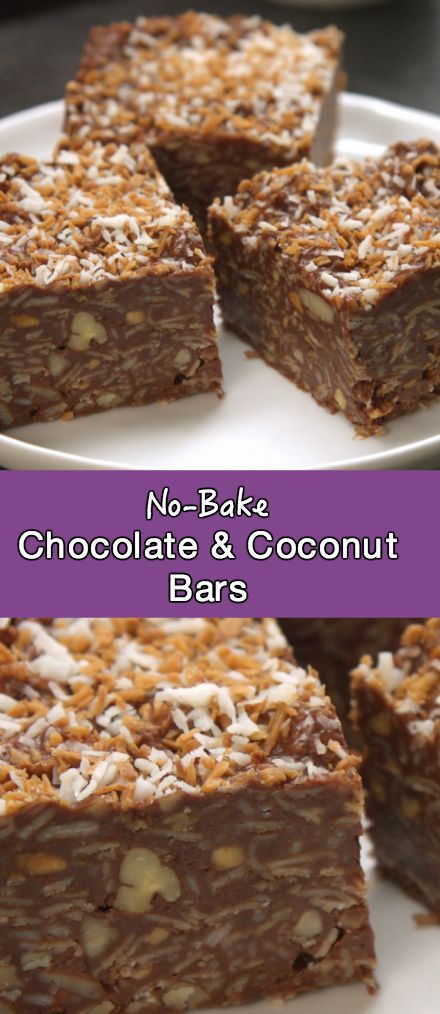 No bake chocolate, coconut and peanut butter bars