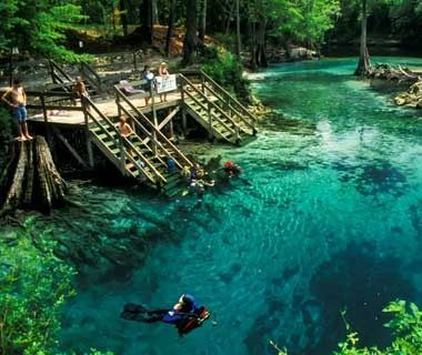 Hot-Spring Hopping in Central Florida... crystal-clear springs maintains a year-round 72-degree temperature. Blue Springs State Park ($6), 40 minutes from Orlando,