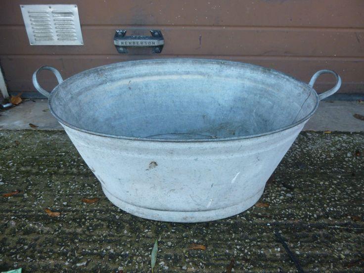 Vintage Galvanised Tin Baby Bath Wash Tub Dolly Tub