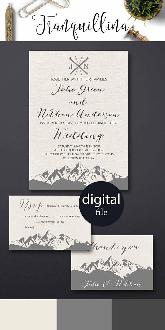 proper way to put names on wedding invitations%0A Mountain Wedding Invitation Printable Winter Wedding Ideas  Printable wedding  invitation set  wedding  mountains