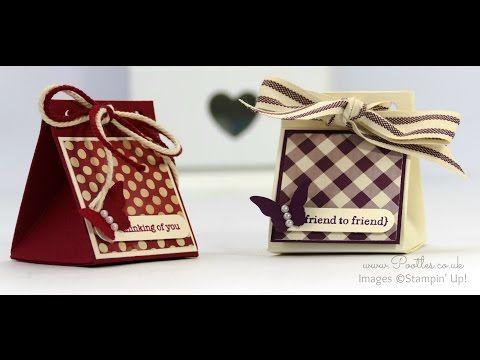 Teeny Tiny Wishes, Farmers Market DSP, Word Window & Bitty Butterfly punches, Bakers Twine, Ribbon, Rhinestones - 2x2 Triangular Treat Box Tutorial
