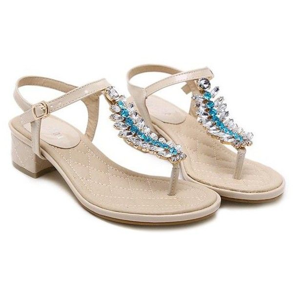 Rhinestones Patent Leather Sandals (69 BAM) ❤ liked on Polyvore featuring shoes, sandals, rosegal, patent leather sandals, patent sandals, rhinestone sandals, patent shoes and rhinestone shoes