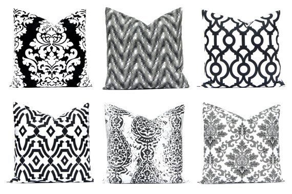 So classy! One decorative euro sham throw pillow cover in shades of black and gray on white. Use the drop down menu to choose your fabric and