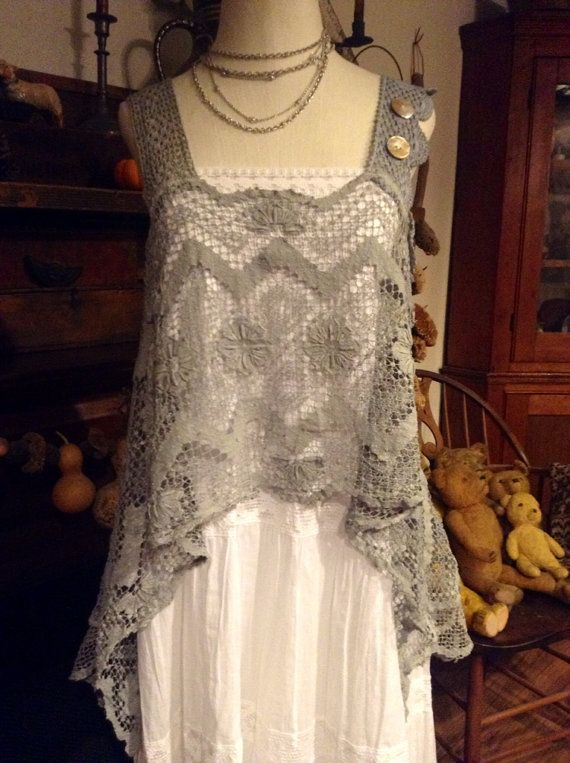 Luv Lucy Tatted Lace Layering top Lace and by LuvLucyArtToWear, $100.00  Wonder if I could do something like this in crochet.