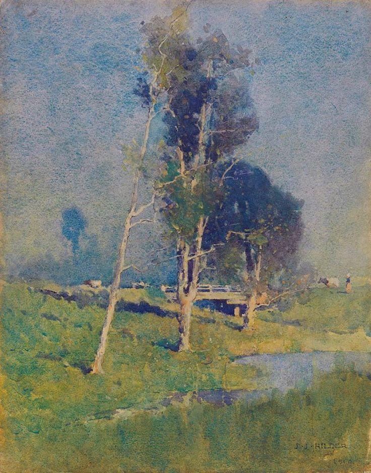 Jesse Jewhurst Hilder (1881 — 1916, Australia) Landscape near Carlingford. 1910 watercolour on wove paper on cardboard. 37.5 x 29.5 cm.