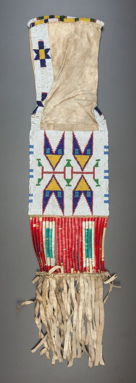 American Indian Art:Beadwork and Quillwork, A SIOUX BEADED HIDE TOBACCO BAG. c. 1890... Image #1