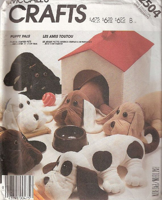 Puppy Pals Stuffed Pets Pattern McCall's by DawnsDesignBoutique, $11.00