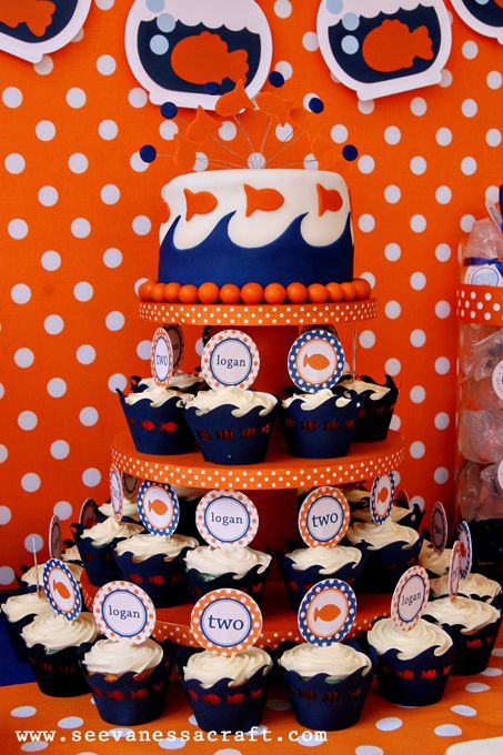 Love the colors & fishy theme for this 2 yr olds birthday!