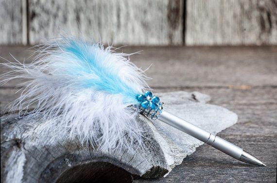 Stylo plume turquoise pour mariage/Stylo par lechoixdelamariee