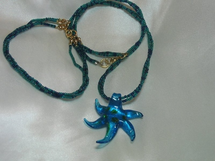 Starfish pendant and seed beads.