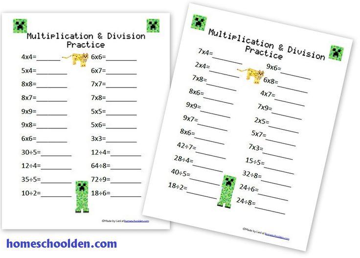 minecraft multiplication division worksheets homeschool math multiplication homeschool. Black Bedroom Furniture Sets. Home Design Ideas