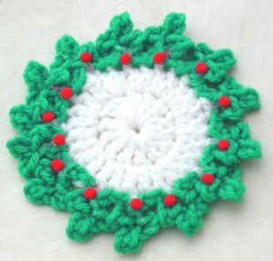 FREE Crochet Pattern - Maggie Weldon - Holly Coaster :  Add extra rows to make dishcloth or trivet for Christmas.