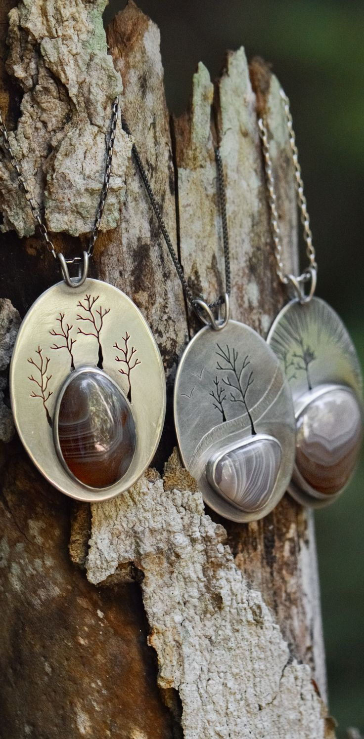 Huge Lake Superior Agates on recycled sterling silver pendants.