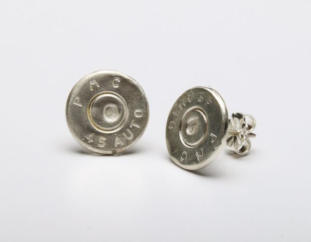 Two Sterling Silver .45's that are 10mm in diameter with Sterling Silver posts.