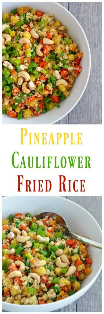 This Pineapple Cauliflower Fried Rice is better than any takeout. Super easy too. Vegan, gluten free, paleo and lower carb. Make it for dinner tonight.