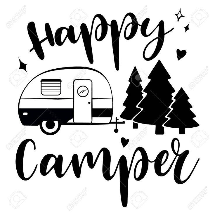 Happy Camper vector download. Mobile recreation. Happy