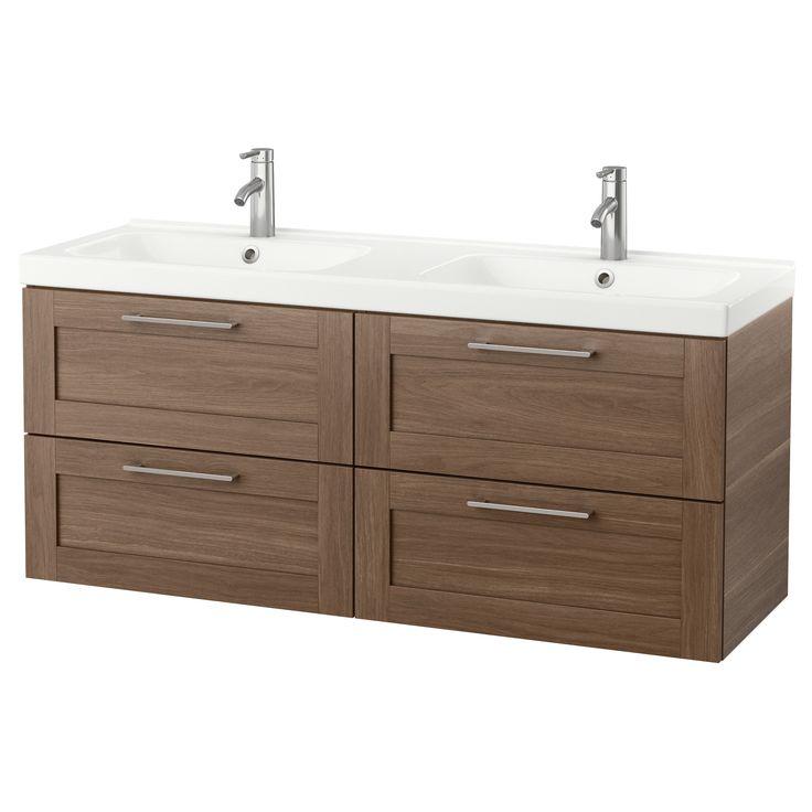 GODMORGON / ODENSVIK Bathroom vanity, walnut effect