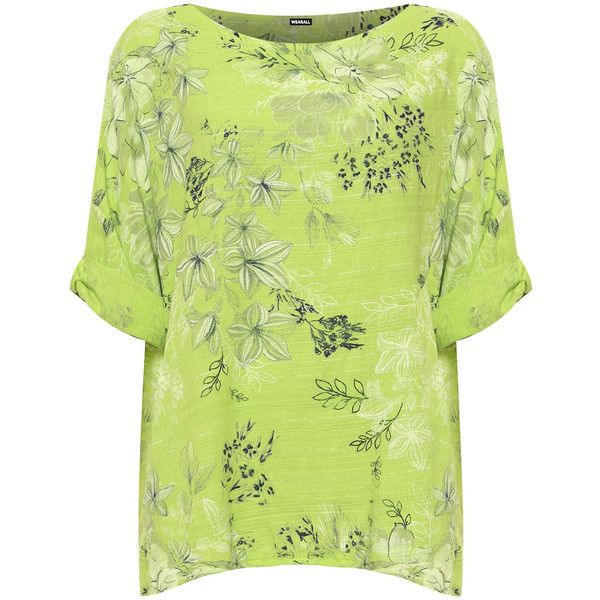 Lauren 3/4 Turn Up Sleeve Floral Linen Baggy Top ($27) ❤ liked on Polyvore featuring plus size women's fashion, plus size clothing, plus size tops, lime green, loose fit tops, cut loose tops, linen tops, sleeve top and lime green top