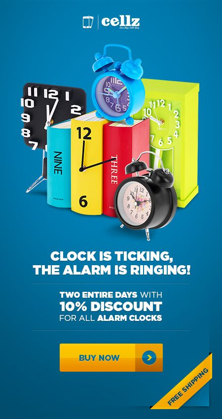 Ring the alarm! Get the ultimate clock designs from cellz.com ! Best deals, weekly offers! #cellz #alarm #clocks #offers #discount