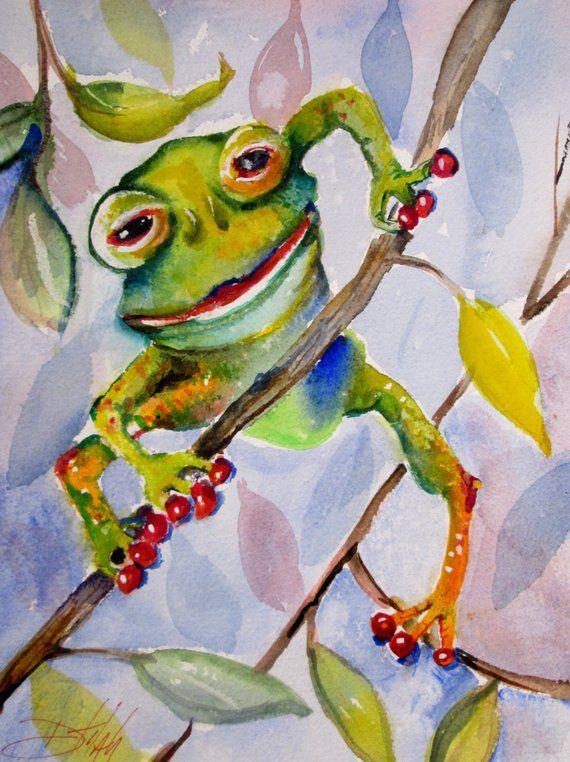 Green Frog Whimsical Animal Art Original 12 X 9watercolor Art