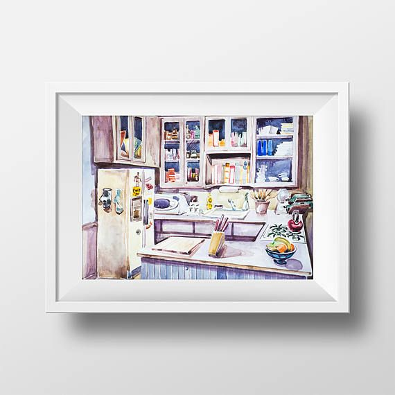 Wall Art Jerry Seinfeld Kitchen Watercolor Print,Seinfeld TV Show Poster,Gift for Seinfeld Fan,Printable Seinfeld Apartment Poster