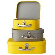 Yellow/Grey Bon Voyage Suitcase Set/3.  Cute idea for kid's storage or for bringing things to Auntie Bon's house.@Bonnie Carroll Nelson
