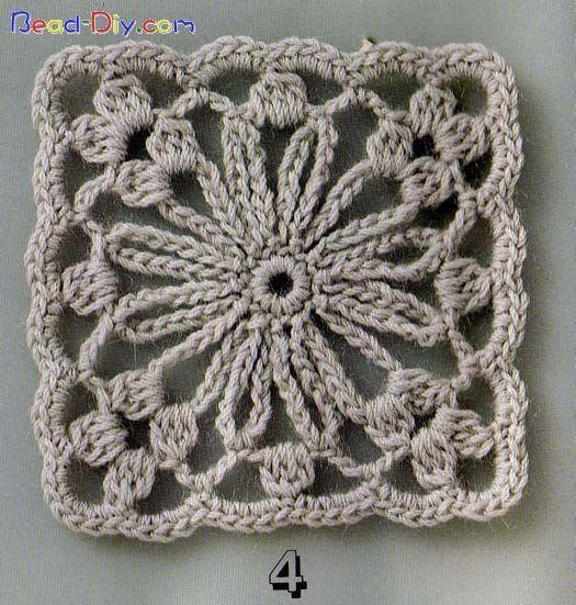 Crochet motif #4  with diagrams (in Russian)