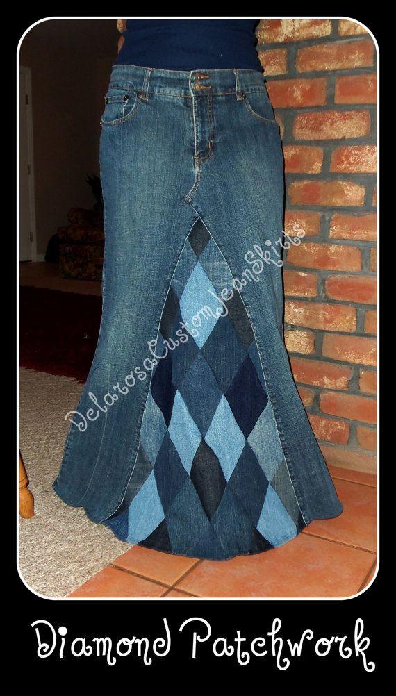 Long Jean Skirt Custom Your Size Diamond Patchwork size 0 2 4 6 8 10 12 14 16