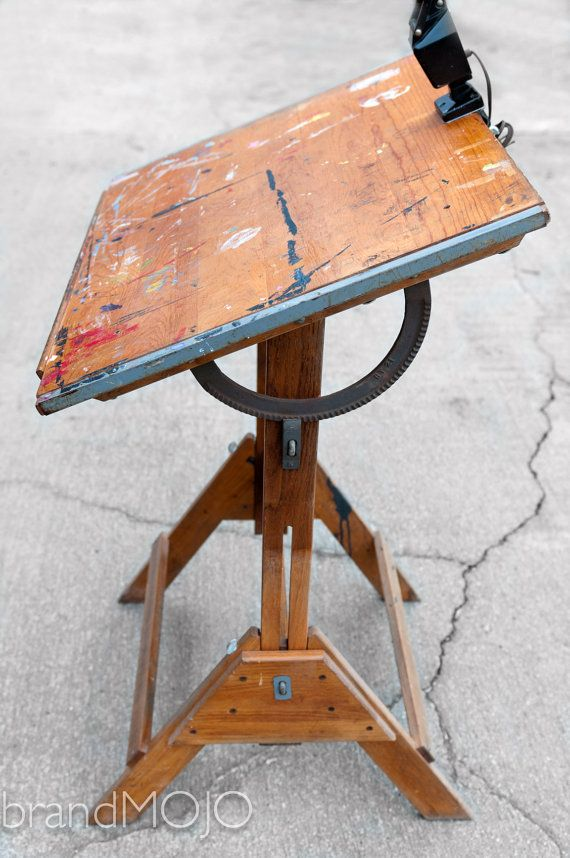 Vintage Industrial Anco Bilt Drafting Table With Vintage Lamp