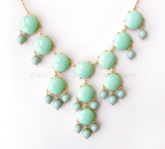 New - Mint Green - Big Size Smooth Bubble Statement Necklace - Gold Tone. $29.00, via Etsy.