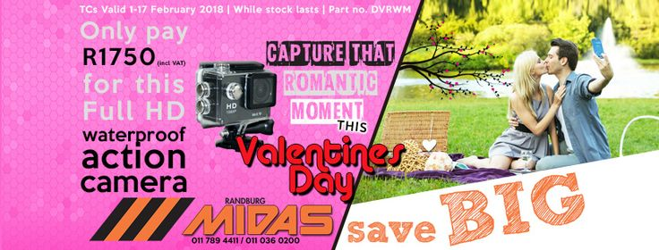 This month of Love, let us help you celebrate Valentine's Day. Only pay R1750 (incl VAT) for our Full HD waterproof action camera!  TCs: Valid 1-17 February 2018 | While stock lasts | Part no. DVRWM  #CoolLove #MidasLove #valentinesday