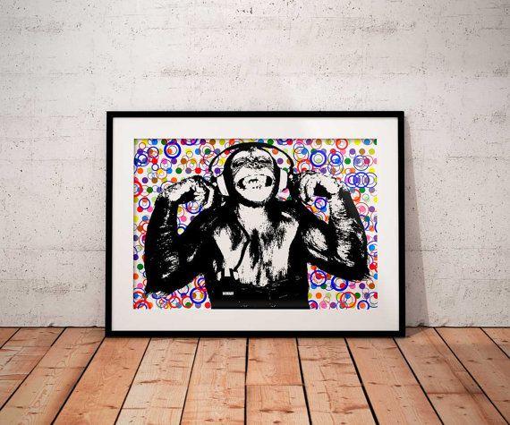 Headphone chimp poster print  Monkey with by BelugaStore on Etsy