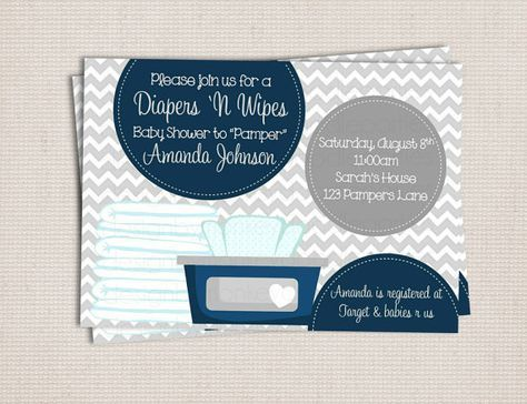 Diaper and Wipe Gray & Navy Baby Boy Custom Printable Baby Shower Invitation on Etsy, $10.00