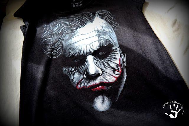 Ręcznie malowana koszulka z jokerem!  Hand painted t-shirt with joker!  #handpainted #handmade #joker #tshirt #batman #black #diy #fashion