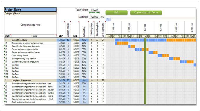 sample gantt chart excel