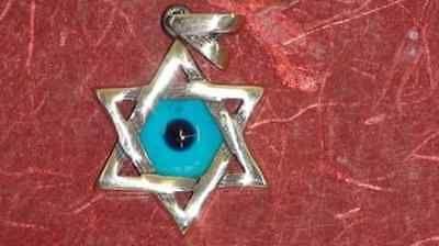 COLGANTE ESTRELLA DAVID EN PLATA con OJO TURCO amuleto protector