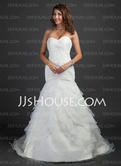 Wedding Dresses - $213.49 - Mermaid Sweetheart Court Train Organza  Satin Wedding Dresses With Ruffle (002000619) http://jjshouse.com/Mermaid-Sweetheart-Court-Train-Organza-Satin-Wedding-Dresses-With-Ruffle-002000619-g619