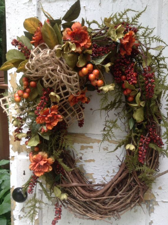 Fall Wreath With Berries And Burlap Bow, Autumn Wreath, Open Weave Burlap  Bow, Large Fall Oval Wreath, Grapevine Wreath, Door Decor, Floral