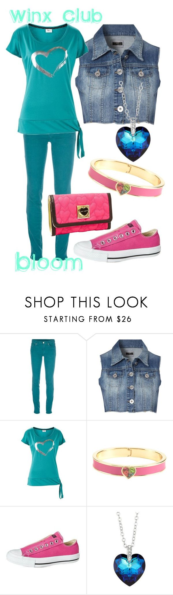 """""""Bloom, Winx Club"""" by blackrabbitmegapig ❤ liked on Polyvore featuring 7 For All Mankind, Jane Norman, Vera Bradley, Converse, Jon Richard and Betsey Johnson"""