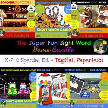 This is the digital, paperless version of The Super Fun Sight Word Game Bundle for Google Drive/Docs. Great for K-2 readers who use a tablet or Chrome book with access to Google Drive/Docs. Using this resource will require internet access for students or