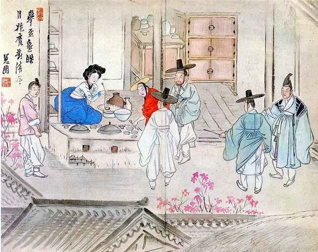 """혜원(惠園) 신윤복(申潤福). Holding a drinking party"""" (transliteration:Jusa geobae) from Hyewon pungsokdo by 19th-century Korean painter, Hyewon. Original stored at Gansong Art Museum in Seoul, South Korea. In the late Joseon period, presumed after 1805"""